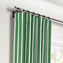 Emerald Green Thin Stripe Curtains with Pocket Close Up