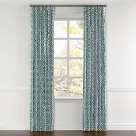 Modern Teal Trellis Curtains with Pocket Close Up