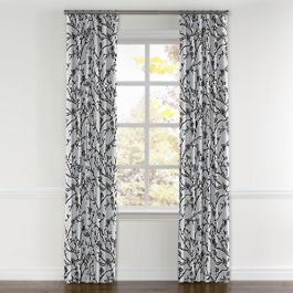 Gray Floral & Bird Curtains with Pocket Close Up