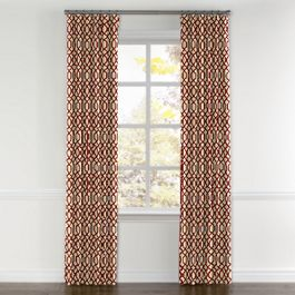 Flocked Tan & Red Trellis Curtains with Pocket Close Up