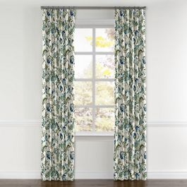 Jacobean Blue Floral Curtains with Pocket Close Up