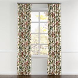 Teal & Pink Floral Curtains with Pocket Close Up