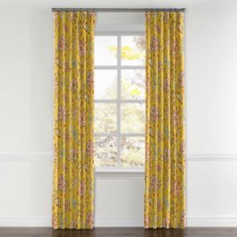 Delicate Yellow Floral Curtains with Pocket Close Up