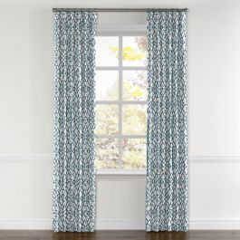 Turquoise Trellis Scroll Curtains with Pocket Close Up