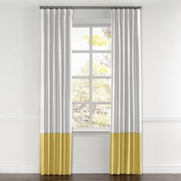 White & Yellow Linen Color Block Curtain