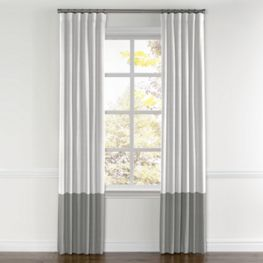 White & Gray Linen Color Block Curtain