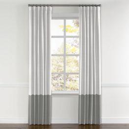 White & Gray Linen Color Block Curtain