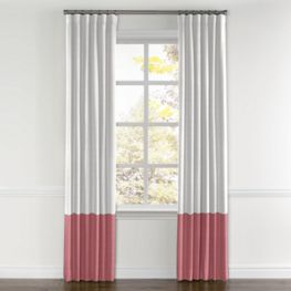 White & Dark Pink Linen Color Block Curtain
