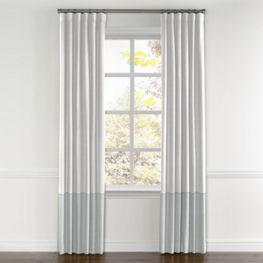 White & Blue Gray Linen Color Block Curtain