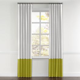 White & Chartreuse Linen Color Block Curtain