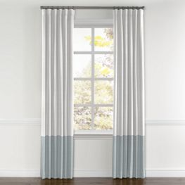 White & Ice Gray Linen Color Block Curtain