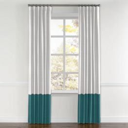 White & Dark Teal Linen Color Block Curtain