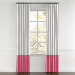 White & Bright Pink Linen Color Block Curtain