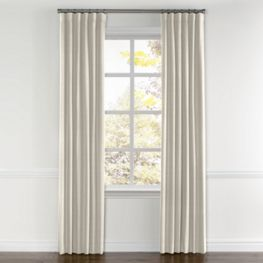 Dark Cream Linen Curtains with Pocket Close Up