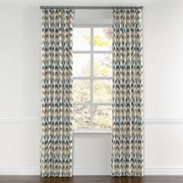 Tan & Blue Flame Stitch Curtains with Pocket Close Up