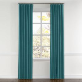 Dark Teal Linen Curtains with Pocket Close Up