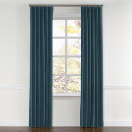 Dark Navy Slubby Linen Curtains with Pocket Close Up