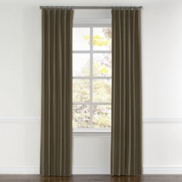 Dark Brown Slubby Linen Curtains with Pocket Close Up