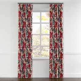 Gray & Red Watercolor Curtains with Pocket Close Up