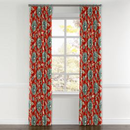 Aqua & Red Floral Curtains with Pocket Close Up