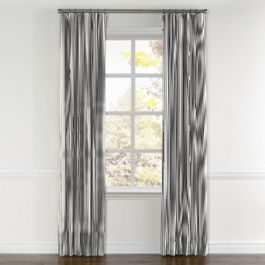 Black Ticking Stripe Curtains with Pocket Close Up
