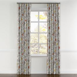Modern Gray Floral Curtains with Pocket Close Up