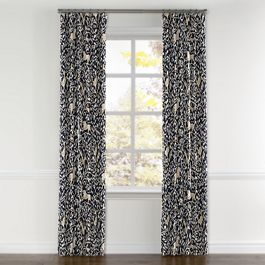 Navy Blue Animal Motif Curtains with Pocket Close Up