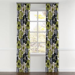 Modern Gray & Green Floral Curtains with Pocket Close Up