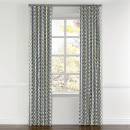 Yellow & Blue Mod Geometric Curtains with Pocket Close Up