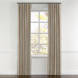 Mod Gray & Orange Geometric Curtains with Pocket Close Up