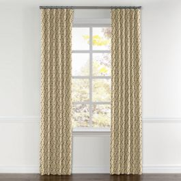 Gold & Tan Embroidered Quatrefoil Curtains with Pocket Close Up