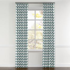 White & Blue Chevron Curtains with Pocket Close Up