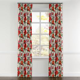 Bold Green & Red Floral Curtains with Pocket Close Up