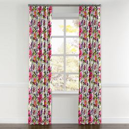 Chintz-like Pink Floral Curtains with Pocket Close Up