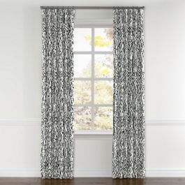 Black & White Animal Print Curtains with Pocket Close Up