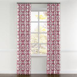 Asian Pink Trellis Curtains with Pocket Close Up