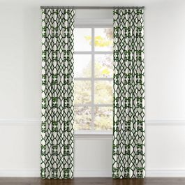 Asian Green Trellis Curtains with Pocket Close Up