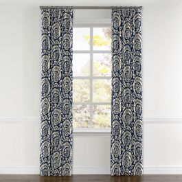 Natural & Blue Botanical  Curtains with Pocket Close Up