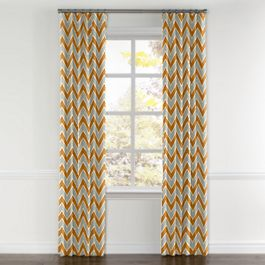 Tan & Orange Chevron  Curtains with Pocket Close Up