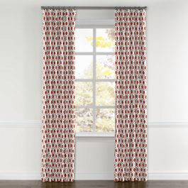 Gray & Red Hexagon Curtains with Pocket Close Up