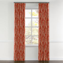 Coral Red Fan Leaf Curtains with Pocket Close Up