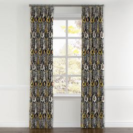 Gray & Orange Ikat Curtains with Pocket Close Up