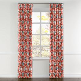 Blue & Pink Coral Leaf Curtains with Pocket Close Up