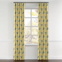 Yellow & Green Leaf Curtains with Pocket Close Up