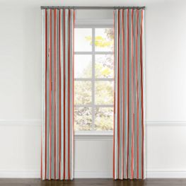 Aqua & Coral Pink Stripe Curtains with Pocket Close Up