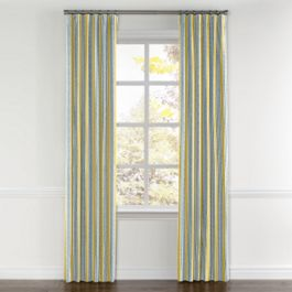 Teal & Yellow Stripe Curtains with Pocket Close Up