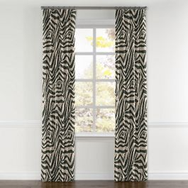 Dark Taupe Zebra Curtains with Pocket Close Up