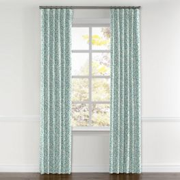 Turquoise Paisley Curtains with Pocket Close Up
