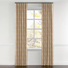 Gold Flower Medallion Curtains with Pocket Close Up