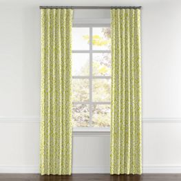 Lemon Yellow Brocade Curtains with Pocket Close Up
